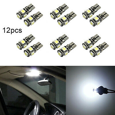 12Pcs Canbus T10 5SMD 5050 LED Car Side Wedge Light Bulb W5W 194 168 131 White