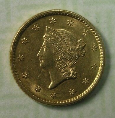 $1G 1853 Ty.1 Liberty Head One Dollar Gold Piece Unc Details * AvenueCoin