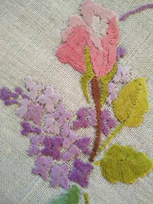 Gorgeous Rose and Lilac flowers ~ Hand Embroidered Doily