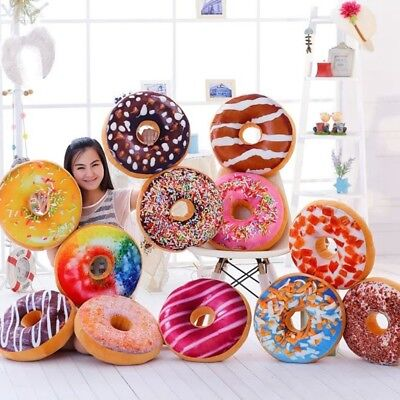 3D Cute Plush Donut Soft Pillow Cover Home Decor Cushion Toy Doll Funny Gifts UK