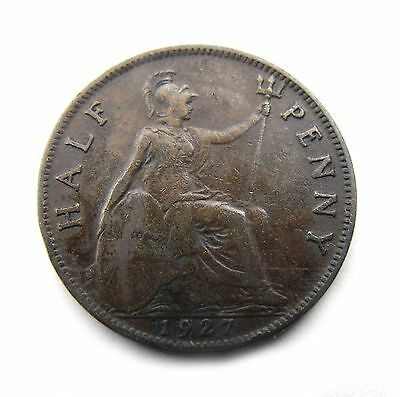 King George V 1927 HALFPENNY in very good circulated condition