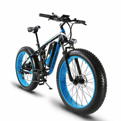 Cyrusher Blue Electric Mountain Bike Bicycle 1000W 48V Dual Suspension Fat eBike