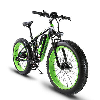 Cyrusher Green 1000W 48V Electric Mountain Fat Tire Bike Double Suspension 5 PAS