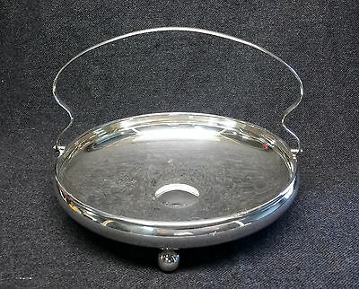 Vintage HECWORTH Silver Plate Tri-Footed Dish Bowl Tray with Hinged Handle EPNS
