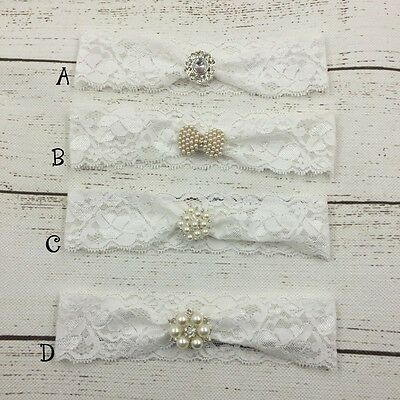 Baby Girl Vintage Lace Headband Pearl Diamante Christening Baptism Baby Shower
