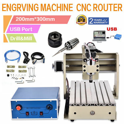 Usb Port! 3 Aixs Cnc Router Engraver Milling Drilling Cutting Machine 3020 Mach3