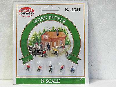 MODEL POWER #1341 N scale WORK PEOPLE 9 pieces hand painted New on card