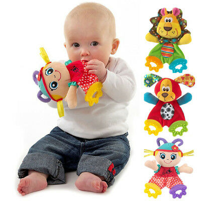 Hot Newborn Baby Bed Hanging Plush Rattle Teether Ring Paper Handkerchief Toys
