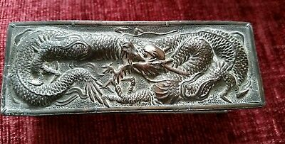 Antique / Vintage Japanese Table Snuff / Trinket Box Copper and Silver? Dragon