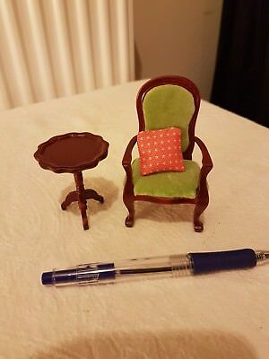 Dolls house table and chair