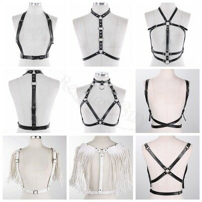 Adjustable Women Corset PU Leather Body Chest Harness Waist Strap Belt cosplay