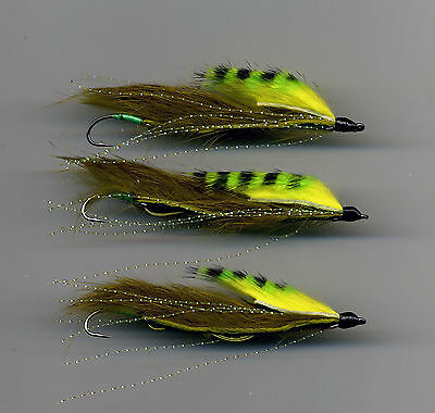Trout Flies: Snake Fly Light  Olive Yellow Assassin x 3 tied in the UK size 8