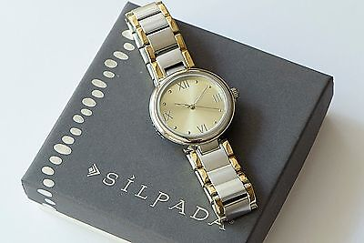 Silpada Gold Trimmed Stainless Steel Link Watch RARE