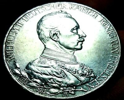 1913 -A German Empire DREI 3 Mark Wilhelm ll Silver EF Coin frankyd360 #ch756