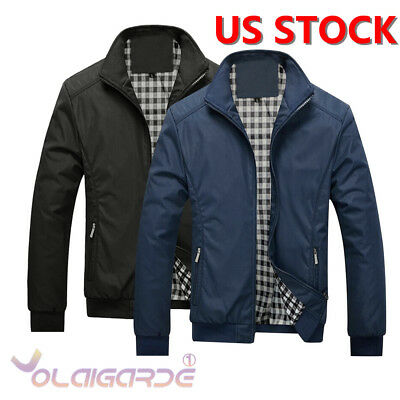 Fashion Men's Autumn Winter Slim Collar Jackets Tops Casual Coat Warm Outerwear
