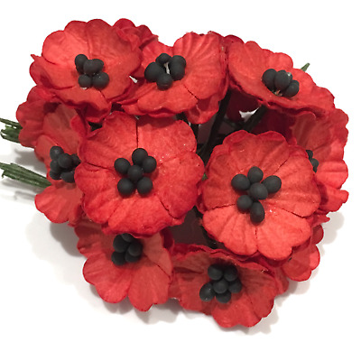 Red Mulberry Paper Poppies Pop01