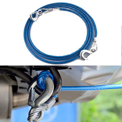 5 Tonne 4M Tow Recovery Hook Car Rope Wire Van Metal Truck Tough Pull Heavy Blue