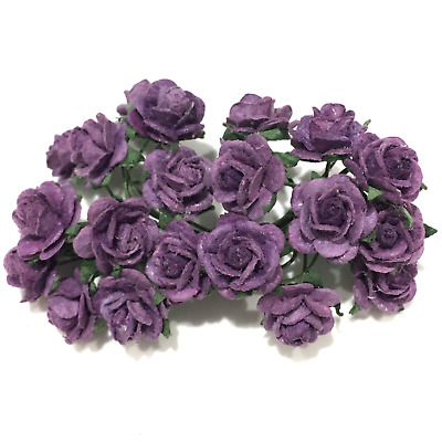 Purple Open Mulberry Paper Roses Or047