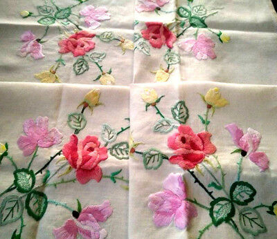 Exquisite Rose Bouquets ~ Vintage Raised Hand Embroidered Tablecloth