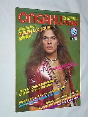 ONGAKU SENKA Japan magazine 7/1978 QUEEN BABYS Cheap Trick TED NUGENT Van Halen