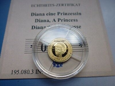GOLD 585 - LADY DIANA / ORO / 0,5 g - 11 mm / PROOF / MINT 1.997 !