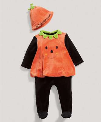 Mamas and Papas Halloween Pumpkin Unisex All in One Fancy Dress Outfit NEWBORN
