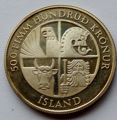 """1974 Iceland 500 Kronur Silver Coin KM#20 0.5948 oz Silver """"Only 70,000"""" SB4981"""