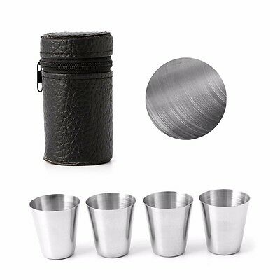 4Pcs Outdoor Stainless Camping Steel Mini Cup Mug Drinking Coffee Beer With Case