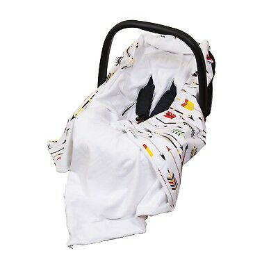 **New Cotton & Soft Plush Baby Car Seat Blanket - white / colourful arrows