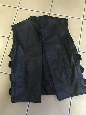 leather cut, Men's Leather Waistcoat. Alternative, Biker Jacket.