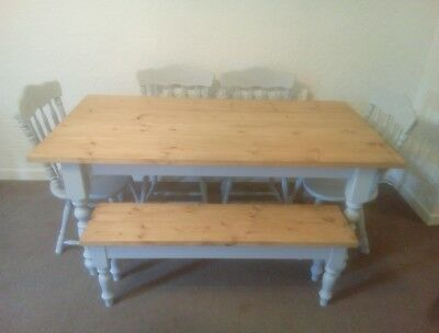Rustic Shabby Chic Dining Table 2 Chairs And Bench