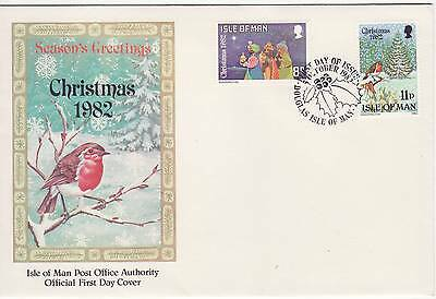 GB Stamps First Day Cover IOM Christmas Xmas Three wise men,robin SHS Holly 1982