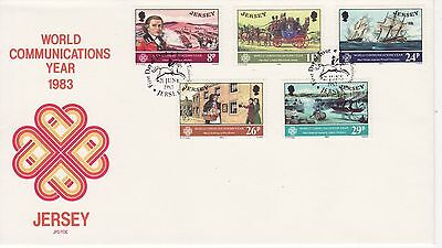 GB Stamps First Day Cover Jersey World Communication Year SHS Postboy 1983