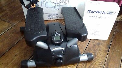 Reebok mini stepper black and silver with resistant straps,black gym ball.