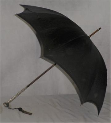 Vintage/Antique Unmarked Detailed Floral Silver Umbrella- Black Canopy