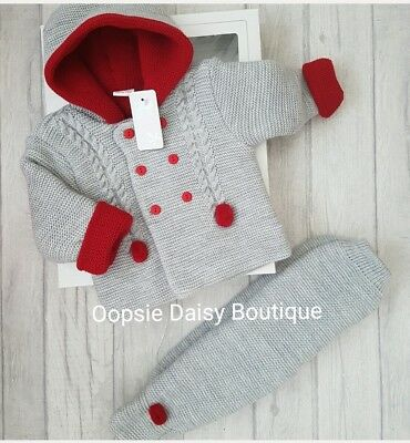 Baby Boy Girl Spanish Double Knitted Pom Pom Suit Hooded Jacket 3,6,12,18 mth