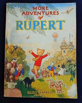 VINTAGE ORIGINAL 1947 RUPERT BEAR ANNUAL, PRICE UNCLIPPED at 3/6, HARRISON PRINT