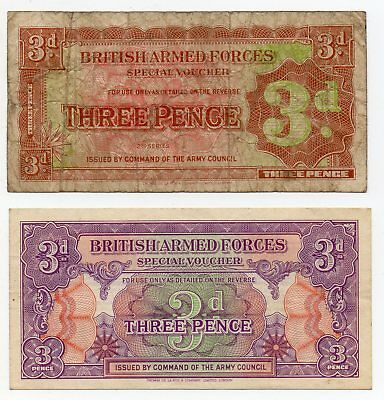 TWO BRITISH ARMED FORCES SPECIAL VOUCHER 3d BANKNOTE.