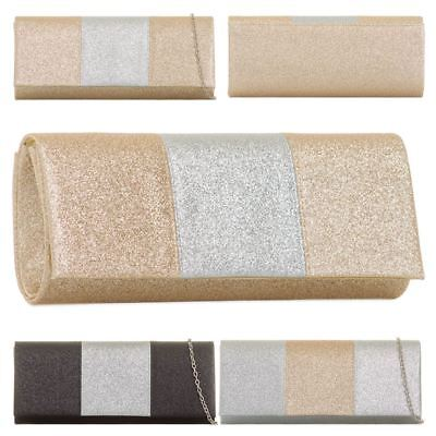 Womens New Glitter Sparkly Panel Prom Party Clutch Bag Purse