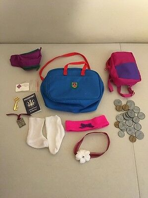 Magic Attic Club Doll Accessories Lot BACKPACK Case COINS Passport FANNY PACK ++
