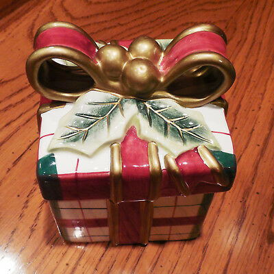 Fitz And Floyd Classics Christmas Gift Candy Dish Trinket Box - Mint!