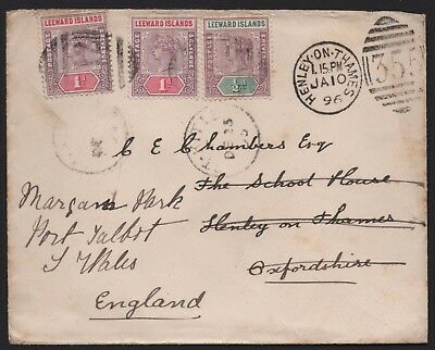 1896 Leeward Islands 2 1/2d. to Henley on Thames and re-directed. E2128