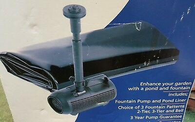 Hozelock Garden Fish Pond Fountain Waterfall Pump 700 litres + Liner NEW
