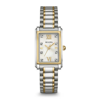 Bulova Womens Silver Analog Display Quartz Two Tone Watch - 98P144