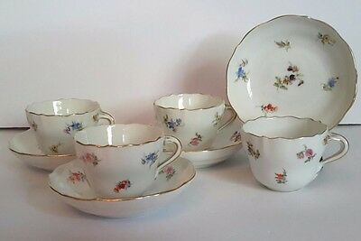 4 Antique MEISSEN Porcelain Demitasse Cup & Saucer - Scattered Flowers - Germany