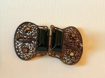 Antique Victorian/Edwardian belt buckle with onyx and white stones. Stunning.