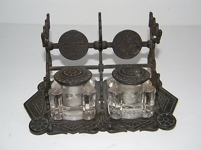 ANTIQUE VICTORIAN DOUBLE INKWELL with PEN REST
