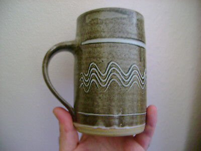 Marianne De Trey Studio Pottery Mug,with Combed Design & In Excellent Condition