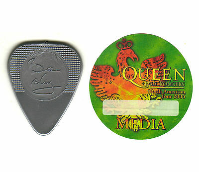 Guitar Pick - Queen - Brian May -  Rare 2006 Real Tour Pick & Backstage Pass!