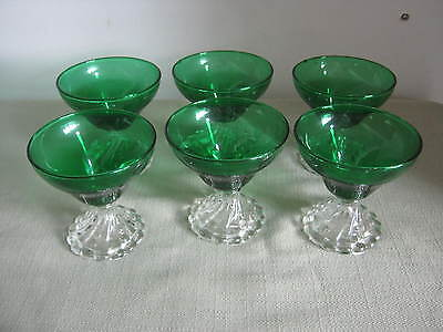 6 Lg. Vintage Anchor Hocking Forest Green Bubble Boopie Bullseye Wine, Sherbets